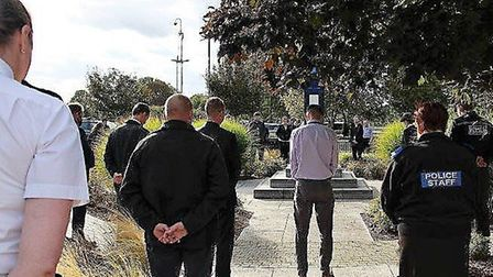 Officers and civilian staff from Cambridgeshire Constabulary paid tribute to Metropolitan police Mat
