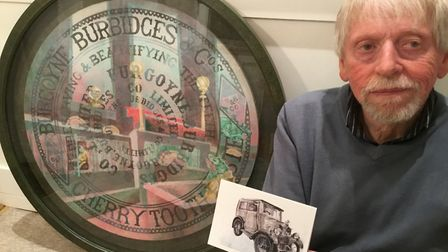Ely artist Ted Coney with his painting 'Who Stole The Toothpaste?' (which includes his Morris Minor)