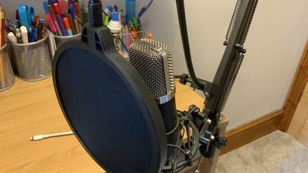 Jack's new recording microphone. Picture: Supplied