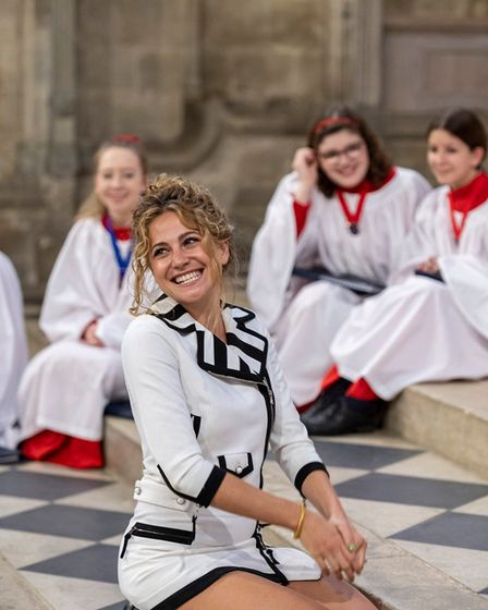 Popstar Pixie Lott dropped into Ely Cathedral earlier last week for Evensong. Picture: Facebook/Ely