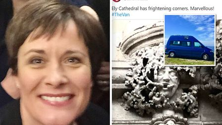 British TV star Catherine Russell visited Ely Cathedral as part of her campervan tour of the UK on S