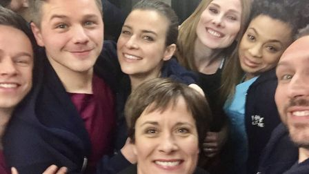Catherine Russell with her fellow Holby City cast members. Picture: Twitter/@catherinerusse2