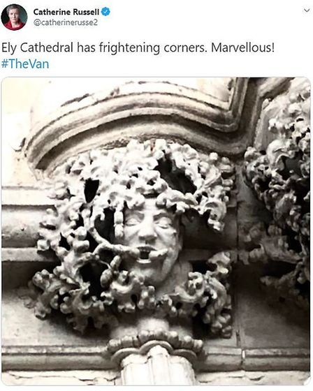 Catherine Russell tweeting about Ely Cathedral. Picture: Twitter/@catherinerusse2