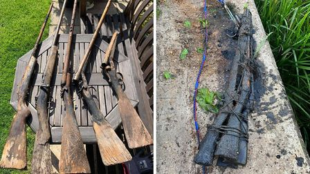 Five guns were found bundled together in a stretch of river between March and Chatteris. Picture: Su