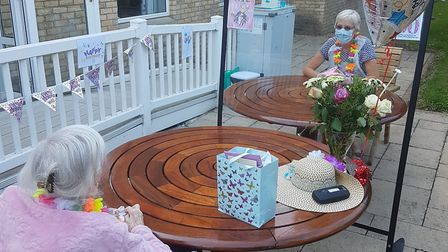 Audrey Norman, who is a resident at Cottenham Court Care Home, received a surprise garden visit from