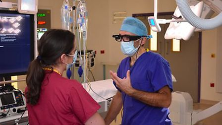 Royal Papworth cardiologists' trial first procedure with virtual support using glasses which provide