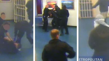 Dranatic scenes, pixelated, showing events inside Whitemoor Prison after a prison officer was attacked.