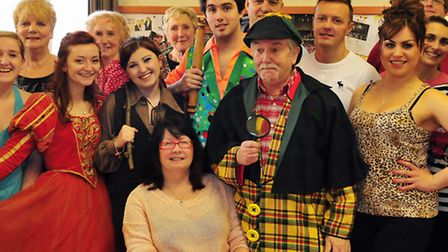 Terry and Julia Rymer with some of the cast of Dick Whittington. Terry and his wife Julia have wrtte