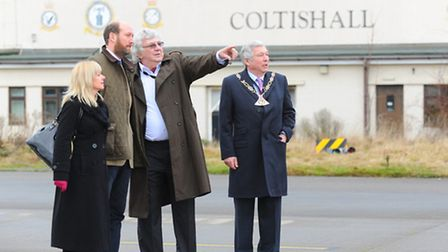 The former RAF Coltishall base that has been bought by Norfolk County Council. Left to right Cllr An