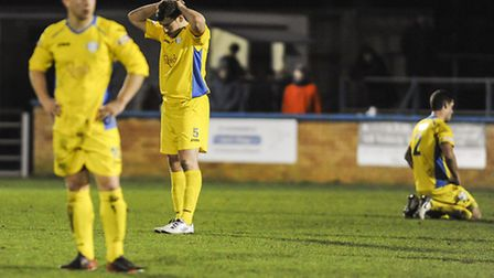FA Trophy action from King's Lynn Town v Southport at The Walks - Lynn react to the 2nd goal after t