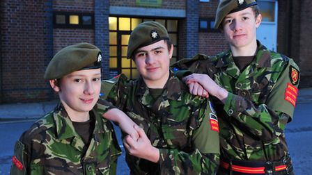 Army Cadets, James Lovett, Bailey Cousins and Toby Currie have all won a place on an army cadet camp