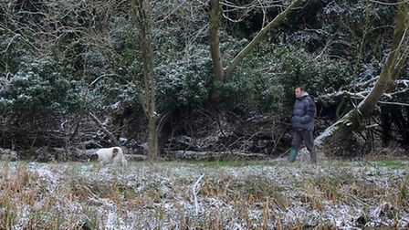 A dusting of snow covers a field next to the Little Ouse River in Thetford. Photograph Simon Parker