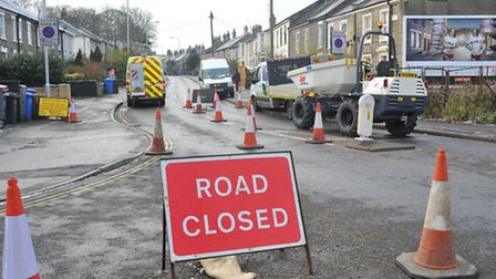 Roads closed at the Dereham Road / Old Palace Road / Heigham Road junction.Photo: Bill Smith