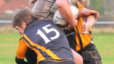 Paul Amiss on a charge that set up a try for Ashley Woods in Holt's fine 24-15 victory over Ipswich