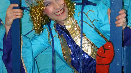 Dame Boot (Andy Hall) welcomes you to Fressingfield Players' panto, Jack and the Beanstalk.