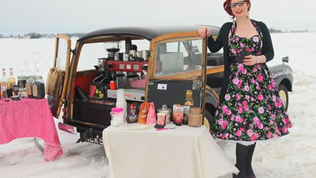 Jodi Abel of Attleborough, with her Morris Minor for her new business Bittersweet Curious Coffee, ma