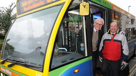Norman Lamb MP pictured catching a Coasthopper bus at East Runton with transport minister Norman Bak