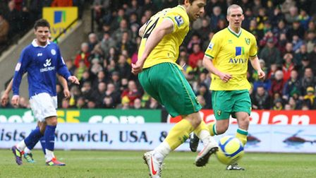 Wes Hoolahan scores against Leicester City in the Canaries' FA Cup fifth round defeat last season.