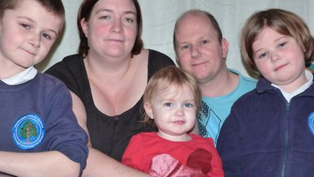 Wayne and Jenny Hardingham with their children, from left: Kristen, Jasmine and Kelly. Picture: SUBM