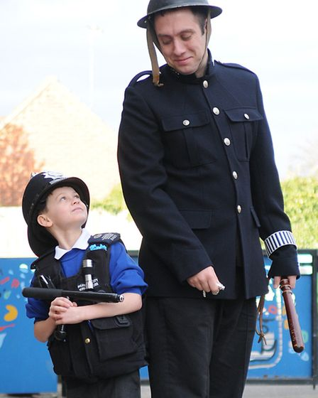 North Walsham Junior School gets a visit from local police and PCSO officers. PC Lee Beckham with Co
