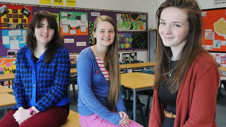 Three students at Reepham College will be going to Cambridge University. Pictured (from left) Hester