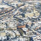 Aerial view of a snowy Norwich. Photo: Mike Page