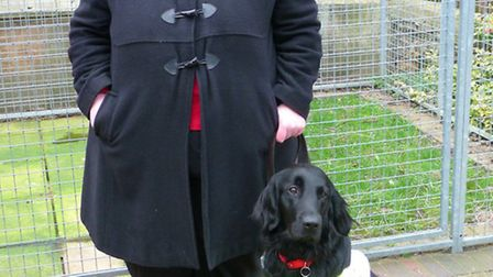 Lesley Smith and her guide dog Unis.