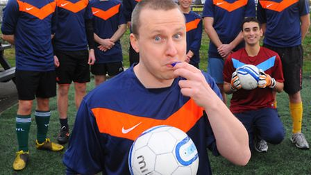 Appealing for referees for their 48 hour five a side match. Neil Gardiner, front with colleagues fro
