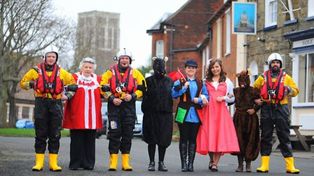 Reydon and Southwold Pantomine Group in full dress for their new production of Dick Whittington set