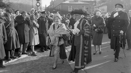 ROYAL FAMILYQUEEN MOTHER DURING HER VISIT TO OPEN NORWICH LIBRARYDATED 21ST JANUARY 1963PLATE P239
