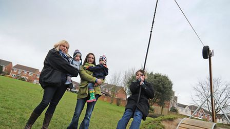 Parents campaigning for play equipment for toddlers at The Green play park, Acorn Road, North Walsha