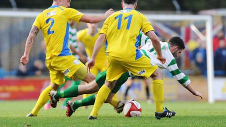 Ross Watson (2) and Jamie Thurlbourne (11) in action for Lynn when they played Northwich Victoria at