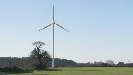 An artist's impression of what the proposed Bodham turbine would look like from Osier Lane, Bodham.