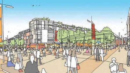 Norwich City Council's artist's impression of St Stephens Square and the pedestrian link with the bu