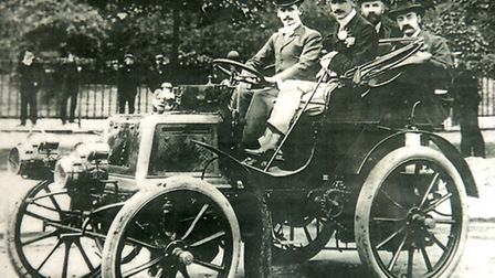 Charles Rolls at the wheel of the 1899 Panhard et Levassor in 1900, which is now kept at the Gressen