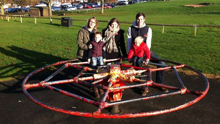 Meadow Park Revamp chairman Gemma Bailey (left) with her husband Daniel and their children Alfie and