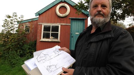 NEWSPhotograph Simon Parker 27/9/2011Luke Jeans outside Tows Cabin in Walberswick which he wants to