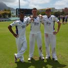 England U19s' Shiv Takor, Gavin Griffiths and Olly Stone at Newlands, Cape Town. Picture: England &