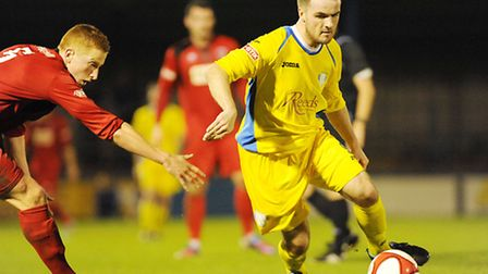 Jamie Thurlbourne in action for King's Lynn Town earlier this term. Picture: Ian Burt.