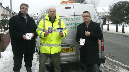 Councillors Colin Fox and Lee Sutton are pictured with ranger Miguel Fish