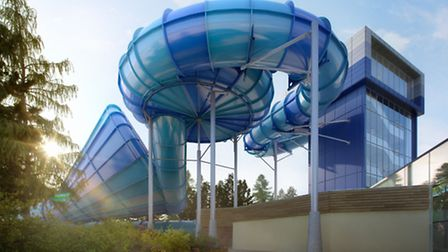 The new Tropical Cyclone water slide at Center Parcs Elveden Forest.