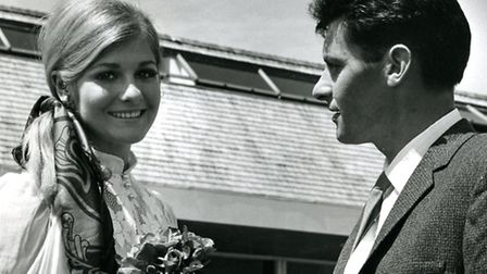 OBIT Peter Beales pictured with Miss Worls (Penelope Plummer) 1969.