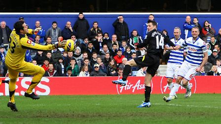 Wes Hoolahan sees his shot brilliantly saved by QPR goalkeeper Julio Cesar. Picture: Paul Chesterton
