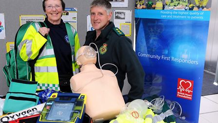 Community First Reponder Rachel Hillier and Andrew Barlow, Norfolk's Responder Manager pictured with