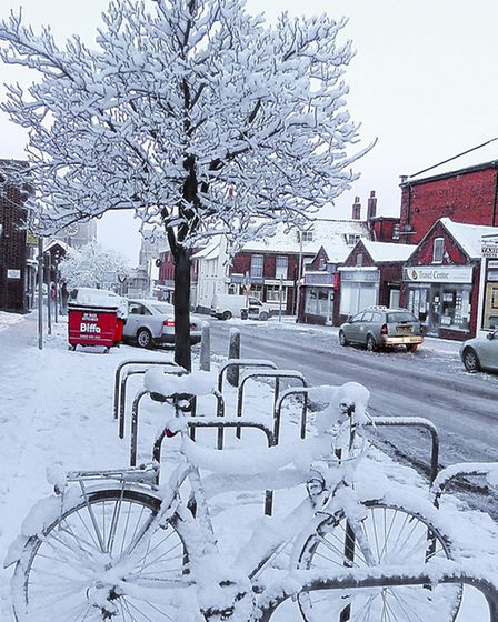 Clearly not a morning for using the bike, Dereham. Picture by Bill Pound