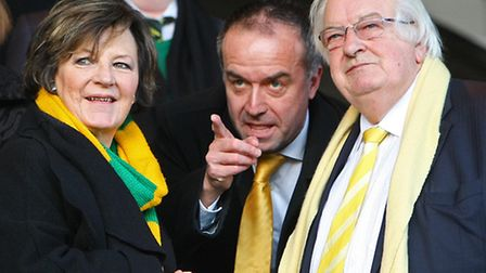 Norwich City's joint majority shareholders Delia Smith and Michael Wynn-Jones with chief executive D