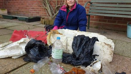 Environmental campaigner Jennifer Lonsdale with the haul of plastic she found on Blakeney marshes