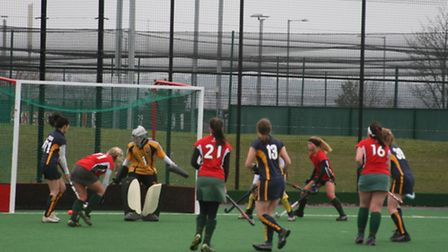 champions elect: Goalscorer Polly Watson slots the ball away for Norwich Dragons Ladies 3rds in thei