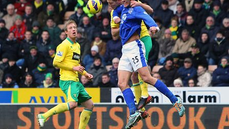 Michael Turner gets to grips with Everton's dangerous Marouane Fellaini during last weekend's game.