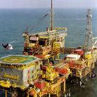 Leman A complex in the North Sea. Gas pipelines from the Leman Fields feed Bacton on the north Norfo
